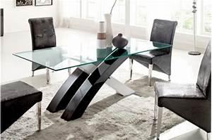 emejing table a manger verre noire images awesome With salle À manger contemporaineavec table salle a manger bois et verre