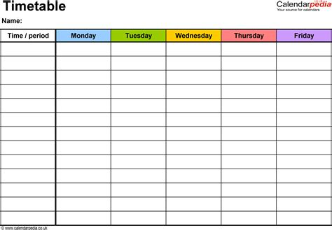 timetable templates microsoft excel printable