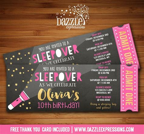 birthday invitation templates ticket 13 printable chalkboard sleepover ticket birthday invitation