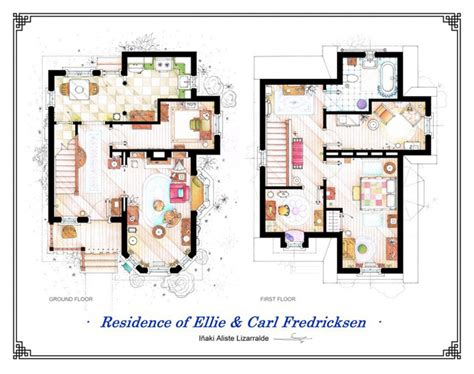 Dibujos a mano de los planos de las casas más famosas de