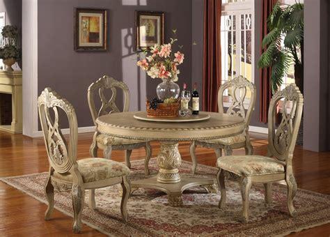5 pc Charissa II collection antique white wood round