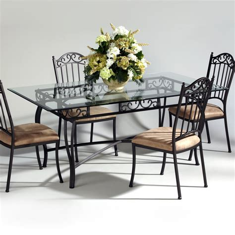 wrought iron and glass dining table chintaly imports wrought iron and glass rectangular dining
