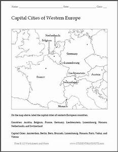 Capital Cities Of Western Europe Map Worksheet