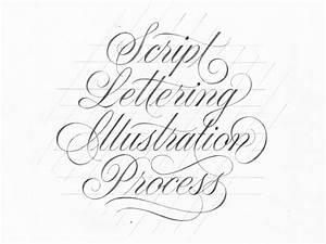 Script lettering illustration process pies brand for House lettering script