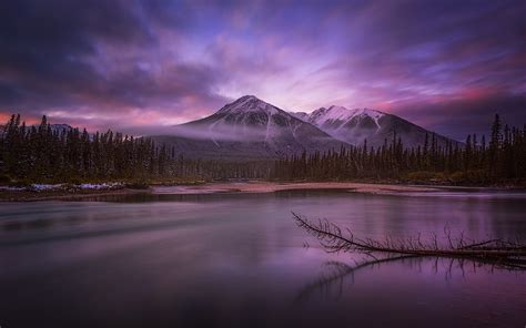nature landscape calm lake mist banff national park