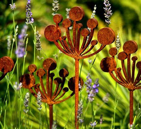 garden metal sculptures sculpture cow parsley plant rusted support
