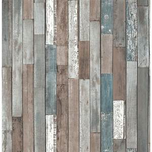 Fine decor distinctive parquet wood reclaim wallpaper blue for Kitchen cabinets lowes with papier peint papillons
