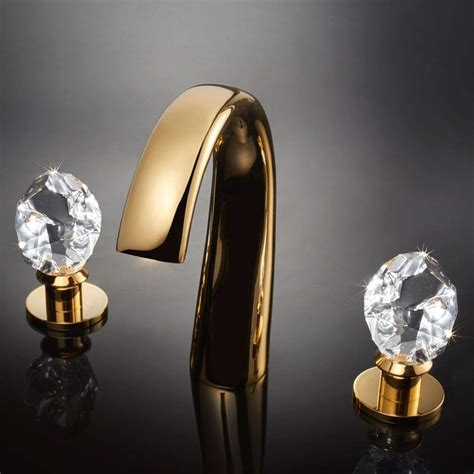 lux crystal  hole bathroom faucet polished gold