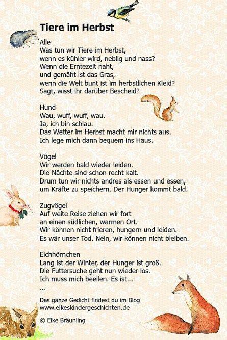Herbst Garten Gedicht by Tiere Im Herbst N 232 Met Versek