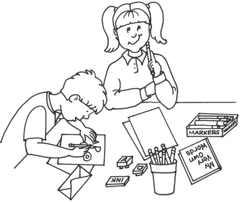 students writing clipart black and white coloring