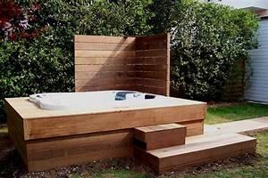 Jacuzzi En Bois : terrasse bois jacuzzi ~ Nature-et-papiers.com Idées de Décoration