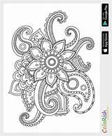 Coloring Pattern Paisley Simple Mehndi Crochet Irish Patterns Zentangle Mandala Motif sketch template