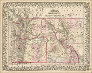 Map of Washington Oregon Idaho and Montana
