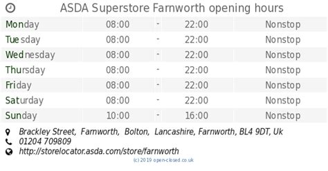ASDA Superstore Farnworth opening times, Brackley Street ...