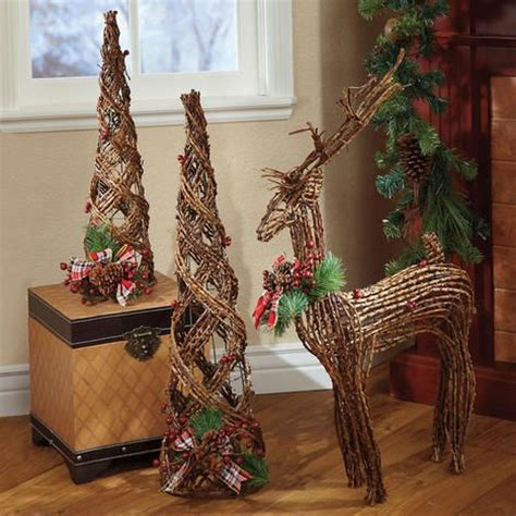 woodland rattan trees  reindeer   christmas