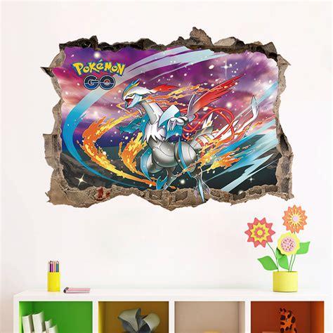 cartoon game pokemon  wall stickers  kids rooms boys gift pikachu wall decals mural broken