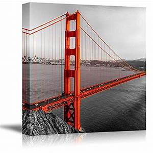 wall26 black and white photograph with pop of color on With kitchen colors with white cabinets with golden gate bridge wall art