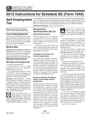 form irs instruction  schedule se fill
