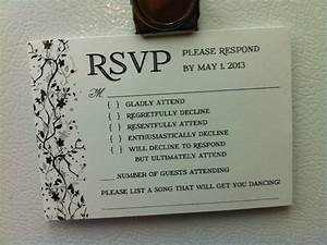 a very interesting take on the rsvp card With very funny wedding invitations