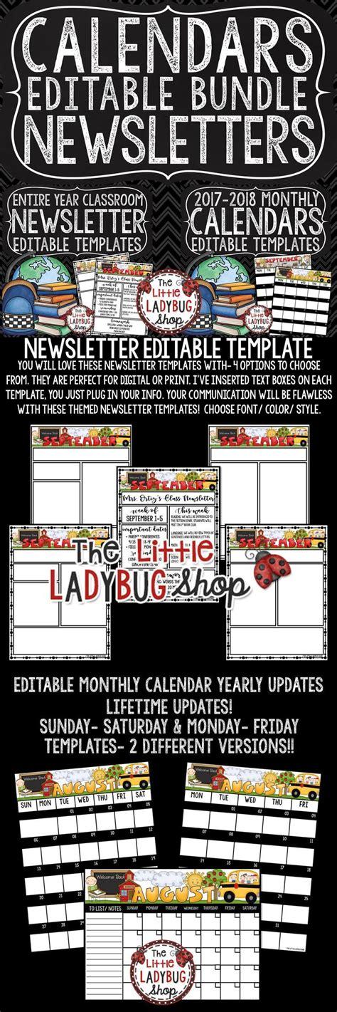 editable calendar weekly newsletter template editable