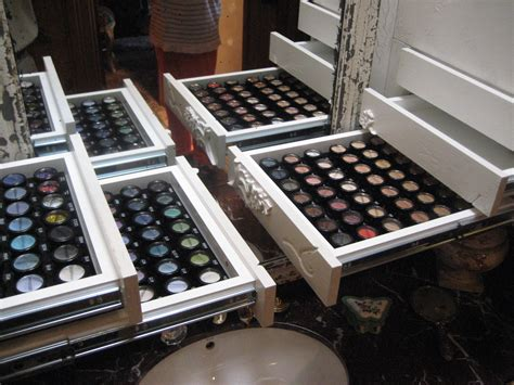 provincial makeup vanity unit with distressed