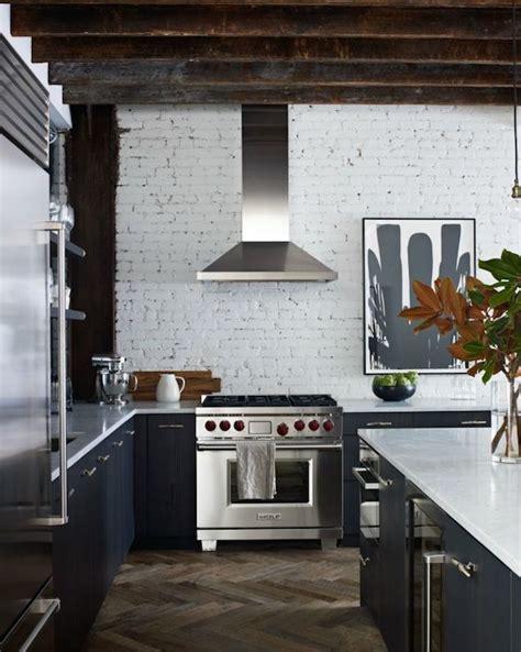 Brick Kitchen Floor With White Cabinets by Whitewashed Brick Transitional Kitchen Wolf