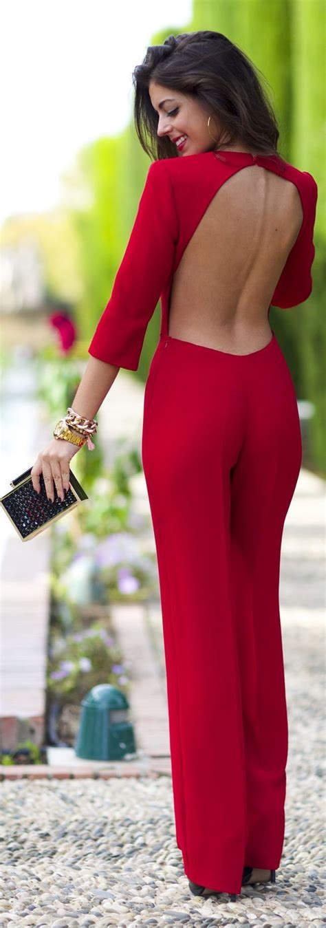 Party red jumpsuit. Elegant fashion ideas 2014 | Stylish | Pinterest | Sexy Christmas eve and ...