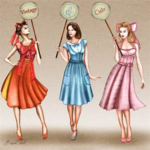 50s inspired vintage dresses fashion illustration by ...