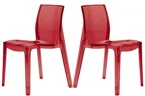 chaises rouges lot de 2 chaises rouges transparente vienne design sur
