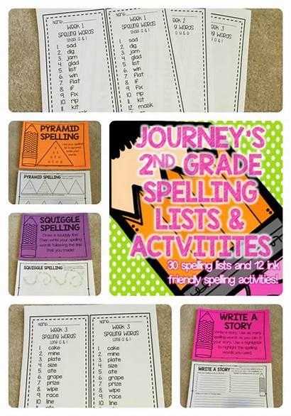 Journeys Spelling Grade 2nd Activities Lists Words