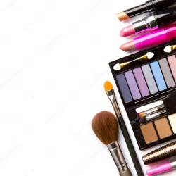 Makeup Brush Stand by Makeup Brush And Cosmetics On A White Background Isolated