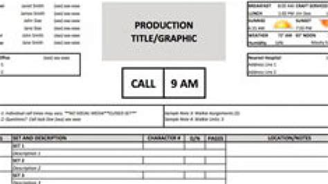 simple call sheet template a free call sheet template to get your crew on the same page