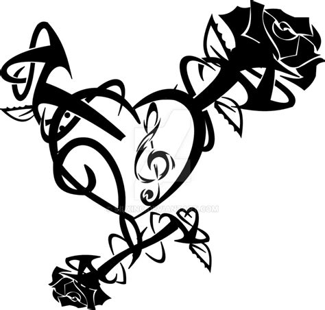 tribal rose heart  silxinc  deviantart