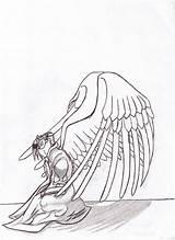 Coloring Kiln Kneeling Angel Sketch Template sketch template