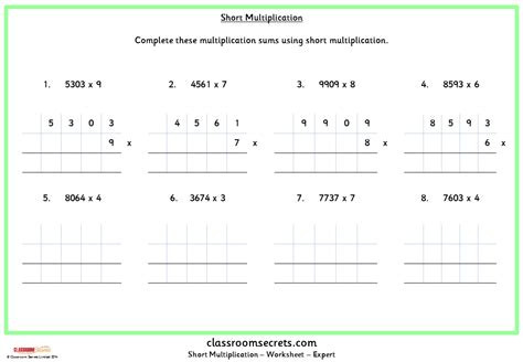 grid method multiplication worksheet ks2 11 plus key