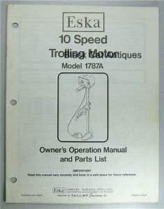 Eska Outboard Owners Manual  U0026 Parts List 10 Speed Trolling