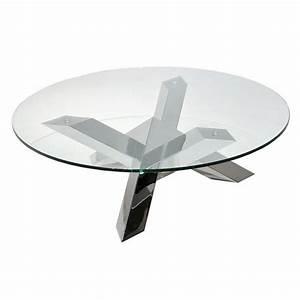 Table Basse En Verre Ronde : table basse pied en inox tess ronde transparente ~ Teatrodelosmanantiales.com Idées de Décoration