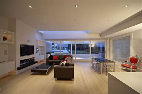 linear fireplace Family Room Contemporary with gas