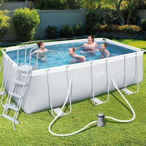 pool mit pumpe bestway schwimming schwimmbad schwimmbecken frame pool set pumpe 412x201x122cm ebay