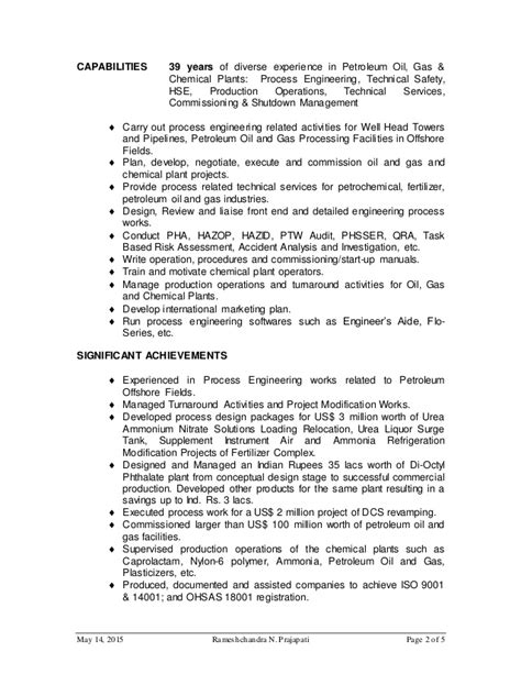 Petroleum Production Engineer Resume by R Prajapati Cv For Process Engineer For And Gas Website