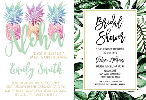 tropical themed bridal shower invitations ideas