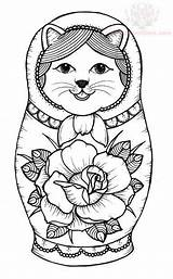 Coloring Russian Dolls Doll Nesting Matryoshka Tattoo Paper Cat Sheets Colouring Kitty Tattoos Both Boys Printable Kokeshi Getcolorings Craft Graphics sketch template