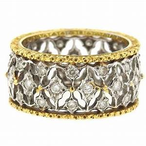 buccellati diamond two color gold open work wedding band With work wedding rings