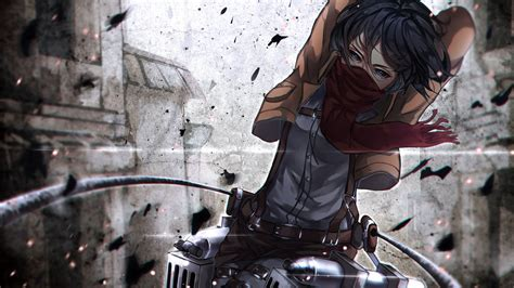 desktop wallpaper mikasa ackerman mask attack  titan