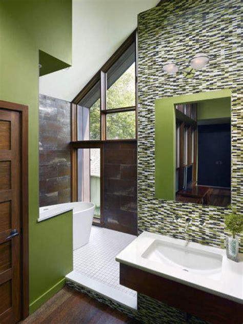 modern bathroom ideas blending green color