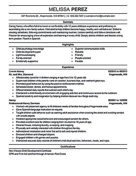 Nanny Resume Exles by Nanny Resume Sle Nanny Resume Exles Are Made For