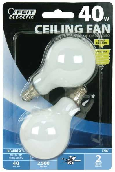 2 pack feit ceiling fan bulb 40w 120v soft white