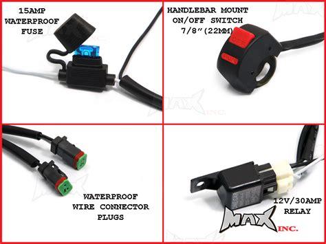 universal motorcycle 18 watt cree led spot driving lights complete wiring kit ural lorraine