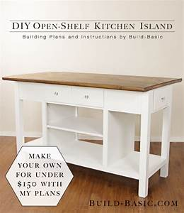 build a diy open shelf kitchen island build basic With how to make kitchen island plans