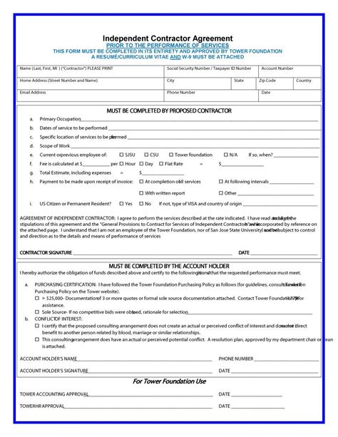 Independent Contractor Agreement Template 50 Free Independent Contractor Agreement Forms Templates